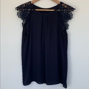 Zara Blouse with lace sleeves  in Navy Blue with